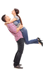 Girl throwing herself in the arms of her boyfriend