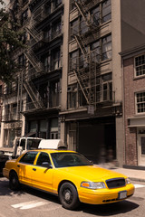 New York Soho buildings yellow cab taxi NYC USA