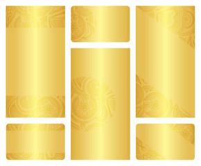 Set of golden leaflet and business card templates.
