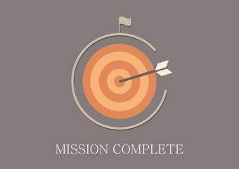 Modern and classic design mission complete concept flat icon