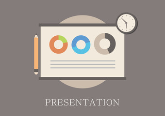 Modern and classic design presentation concept flat icon