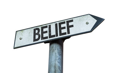 Belief sign isolated on white background