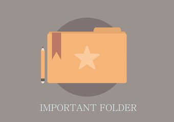 Modern and classic design important folder concept flat icon