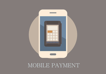 Modern and classic design mobile payment concept flat icon