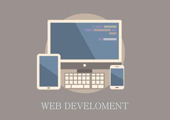Modern and classic design web development concept flat icon