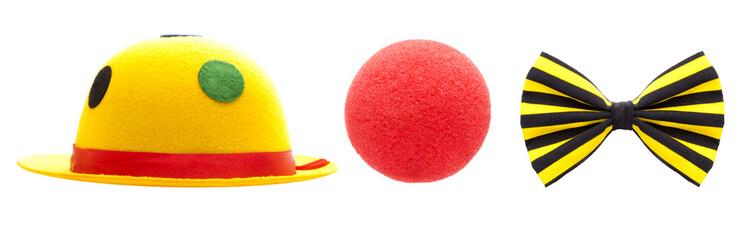 Hut, Nase, Schleife - Clownkostüm