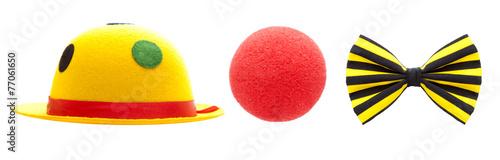 Leinwanddruck Bild Hut, Nase, Schleife - Clownkostüm