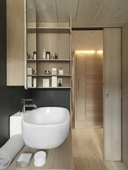 close up of washbasin in a modern bathroom