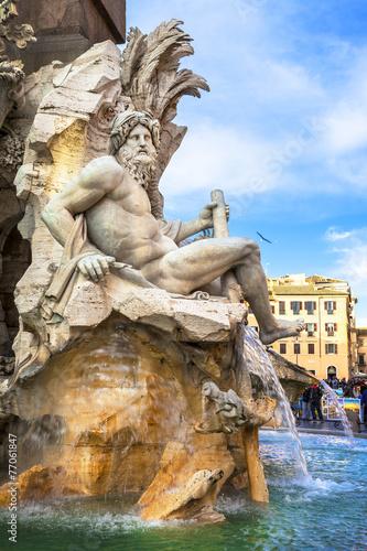 Rome of Bernini'  -foutain in piazza Navona - 77061847