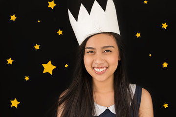 Girl with paper crown