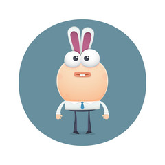 funny character stands as a bunny with ears