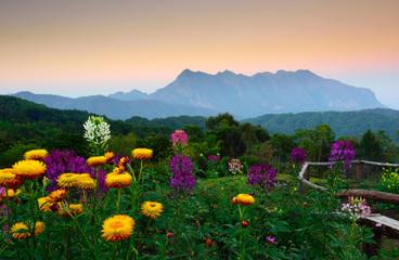 Sunset at mountain range