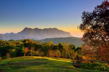 Sunrise at mountain range