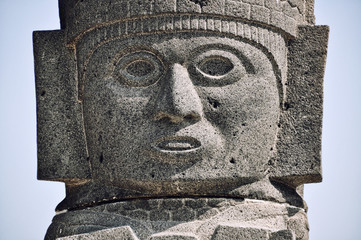 Head of a Toltec Warrior in Tula Ruins
