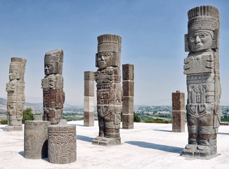 Toltec Warriors columns at the Pyramid of Quetzalcoatl in Tula