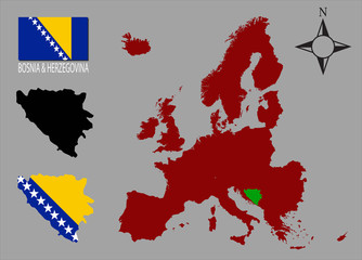 Bosnia And Herzegovina - Flag and two contours
