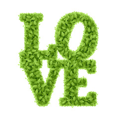 Word Love from leaves, Valentines day