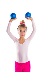 blond fitness kid girls exercise sand balls workout