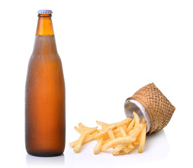 French fries and beer on white background