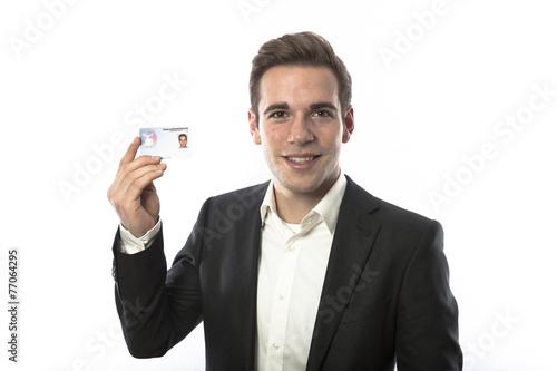 canvas print picture Mann mit Gesundheitskarte Krankenversicherung