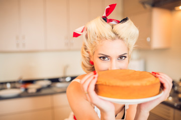 Housewife with a cake