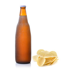 potatoes and beer on white background