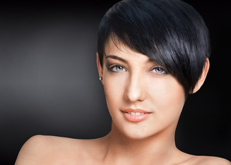 Woman with short hairstyle