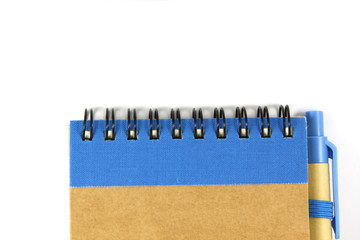 Brown notebook recycle on white background