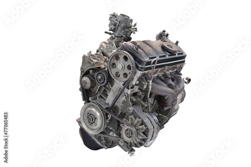 Car engine isolated on white background - 77065483