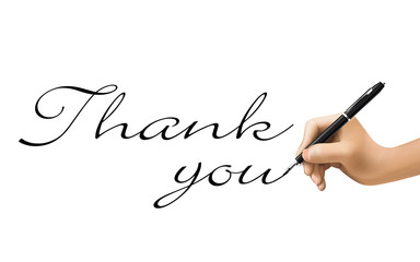 thank you words written by 3d hand
