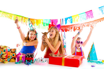 girl friends party dancing with puppy dog present