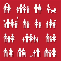 Family icons on red background