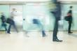 Leinwandbild Motiv London Train Tube station Blur business people movement in rush