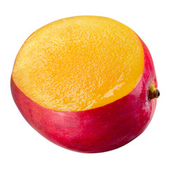 Mango with cut. Half of a fruit isolated on white. Clipping path