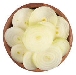 Onion slices in a wooden bowl on a white
