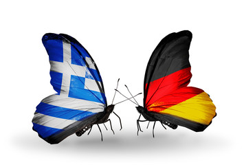 Two butterflies with flags Greece and Germany