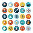 Set of vector travel flat design icons with long shadows