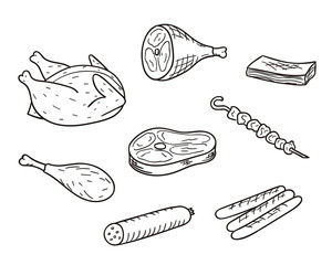 Collection Of Meat Illustrations In Sketch Style