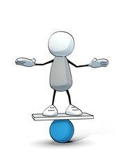 little sketchy man balancing on a blue ball
