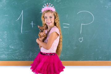 Blond princess schoolgirl pet chihuahua puppy