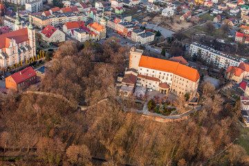 POLAND, OTMUCHOW - FEBRUARY 25, 2014: Aerial view Otmuchow town