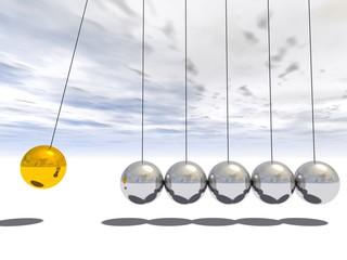Conceptual 3D sphere pendulum over sky