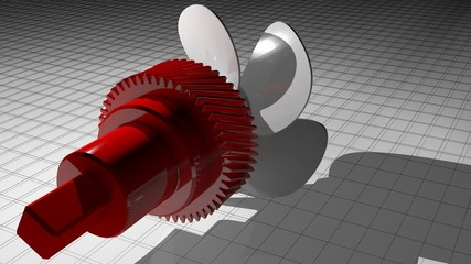 Propeller with helical gear