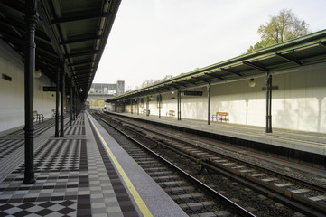 station on the railroad with a canopy
