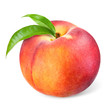 Peach with leaves isolated on white