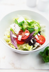 Salad with feta, vegetables and olives
