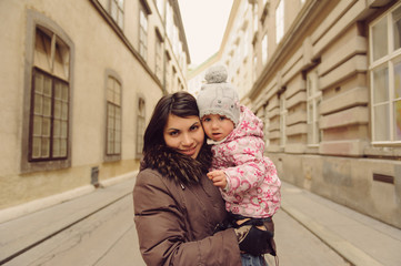Mother and Daughter in Street