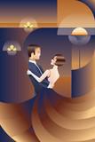 Dancing couple Art Deco geometric style poster