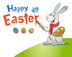 Cute Easter Bunny holding brush.