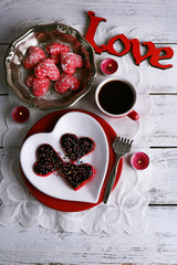 Romantic still life with cookies in form of heart